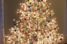 05 large lights tree with ornaments attached right on the light string