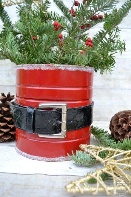 an old coffee can and belt used to make a Santa can