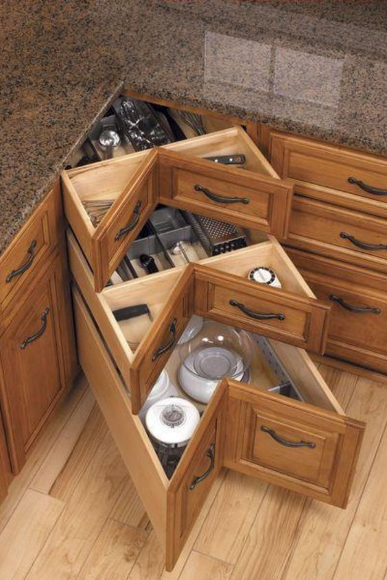 corner drawers will save a lot of space