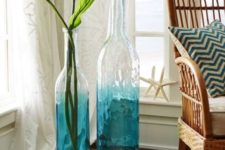 06 hand-painted aqua ombre floor vases