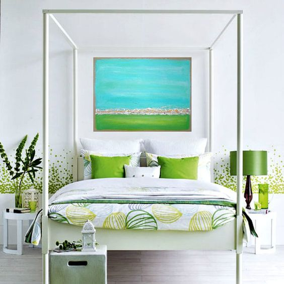 lime green pillows and a vase will easily turn your bedroom into a trendy one