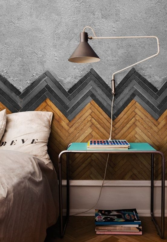 planked reclaimed wood wall for a bedroom accent