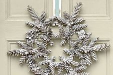 06 snowy pincone wreath is a cool natural decoration