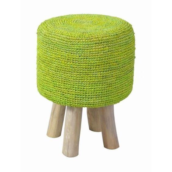 a stool covered with knit is so cozy