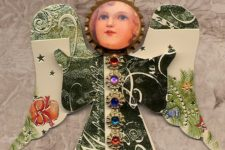 07 angel ornaments made of old Christmas cards