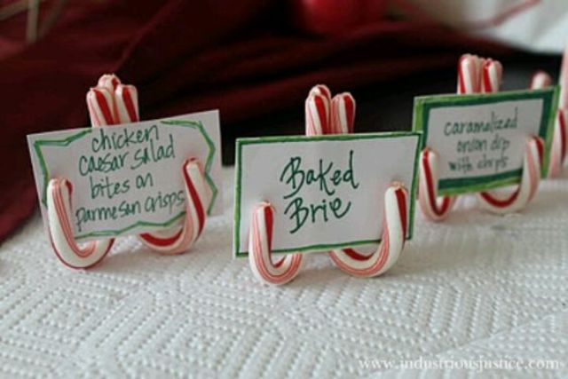 display food cards on candy canes
