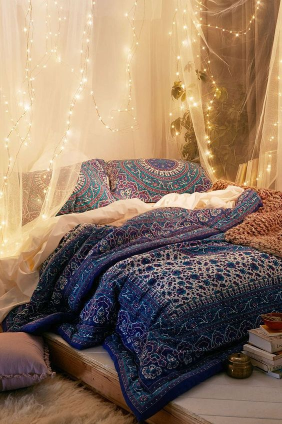 firefly string lights over the bed will make it romantic