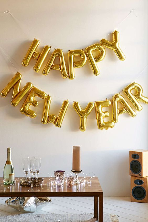 letter balloon garland is right what you need for a New Year party