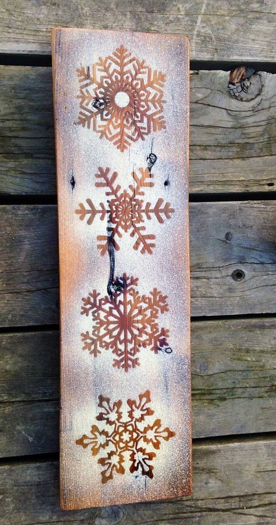 rustic frosted snowflake winter sign
