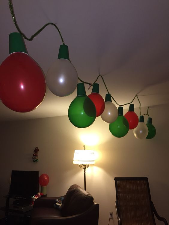 hang a garland of balloons and cups
