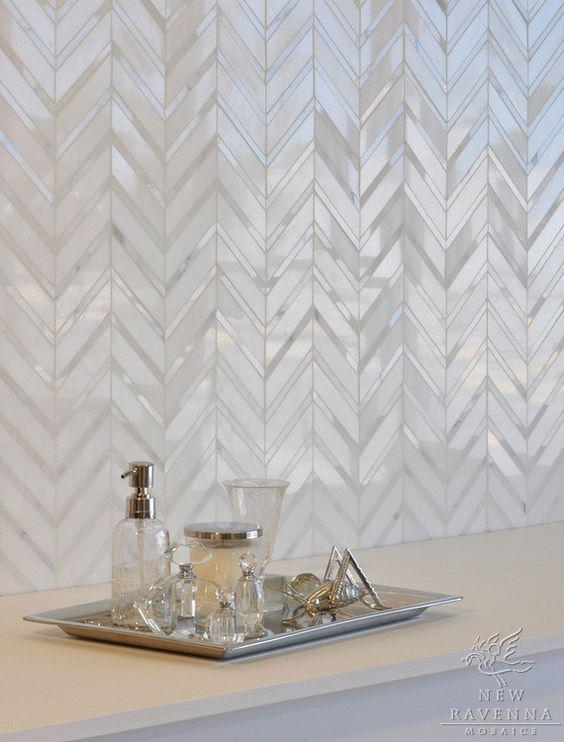 pearl color chevron tiles
