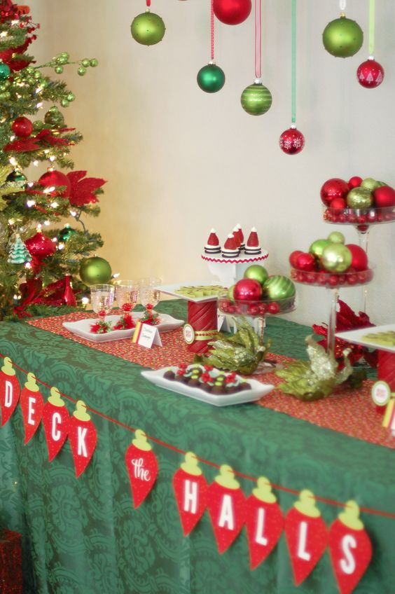 Attractive Hang Green And Red Ornaments Over The Table