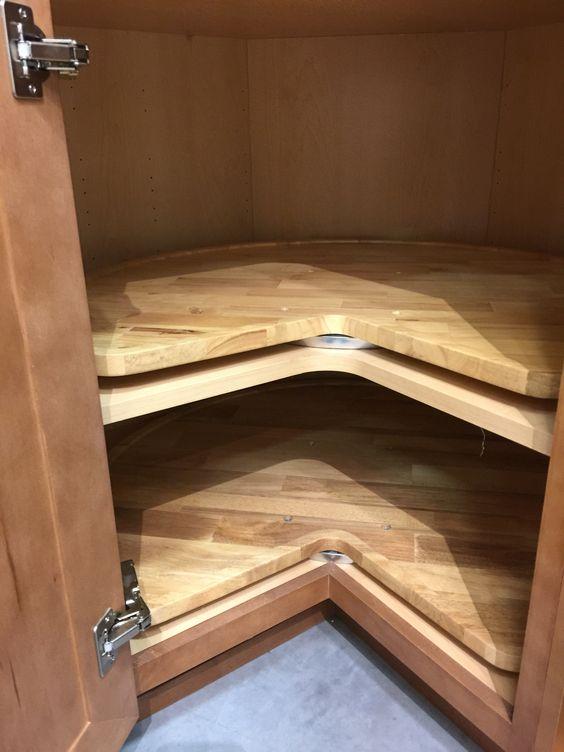 Rotating Disk Inside A Corner Cabinet Will Make Taking Things Easier