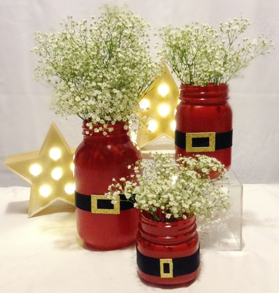 Santa suit mason jars with baby's breath for centerpieces