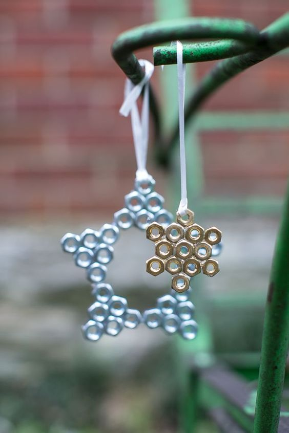 hex nut star ornaments