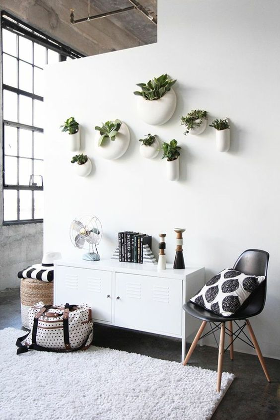 modern planters attached right to the wall