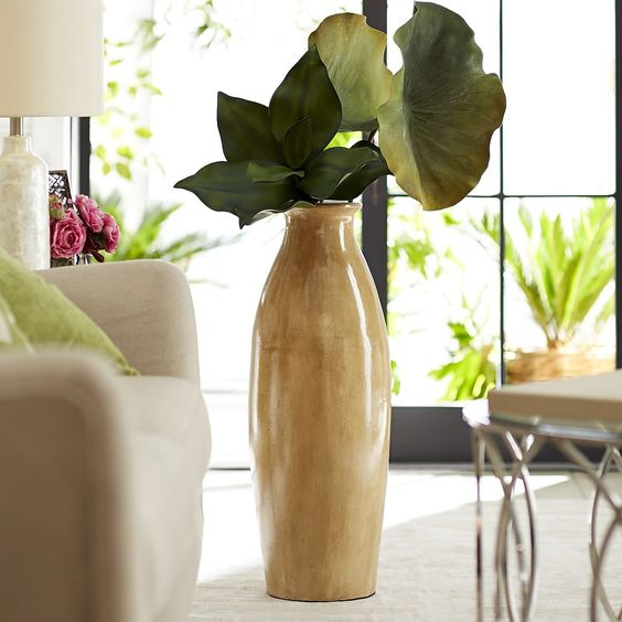patina cream terra cotta floor vase with oversized leaves