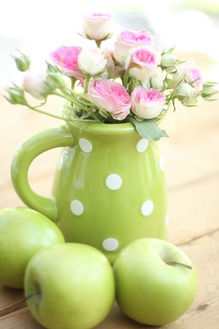 polka dot greenery pitcher used as a vase