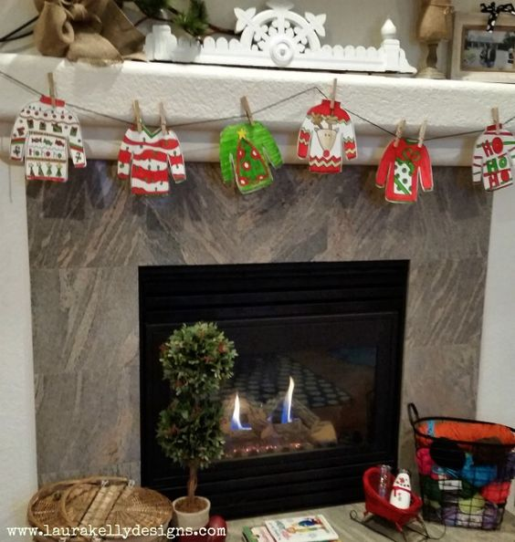 printable ugly sweater garland over the fireplace