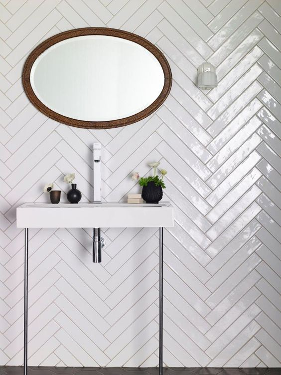 white gloss tiles with a chevron pattern are ideal for any bathroom