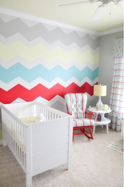 colorful chevron accent wall in a nursery
