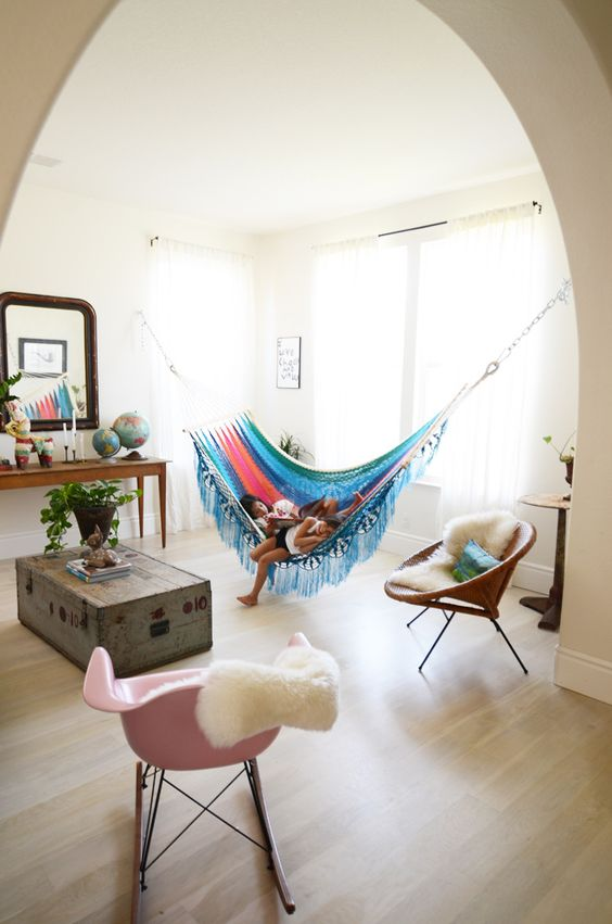 colorful indoor hammock will spruce up your space