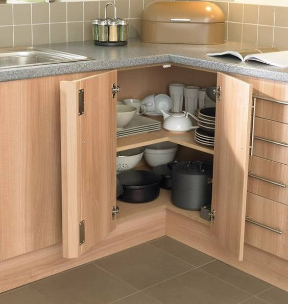 open corners for storing dishes and pots