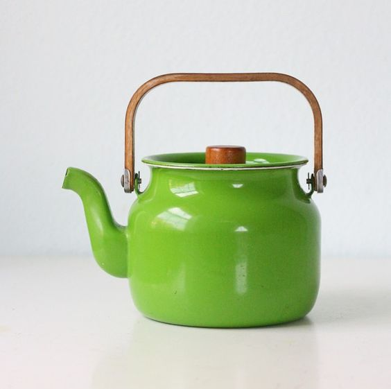 retro green enamel tea pot