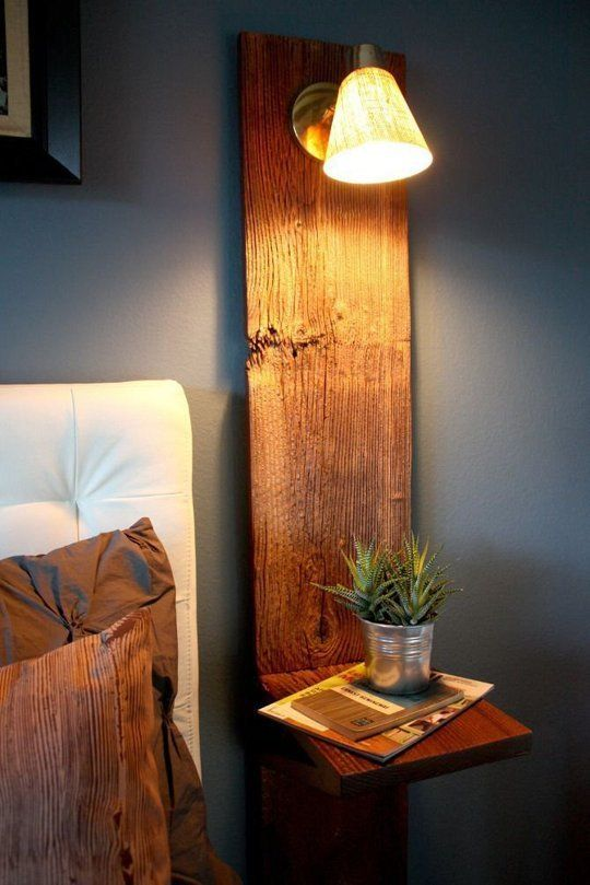 rough wood plank with a lamp and a counter
