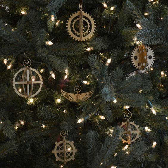 steampunk gear Christmas ornaments