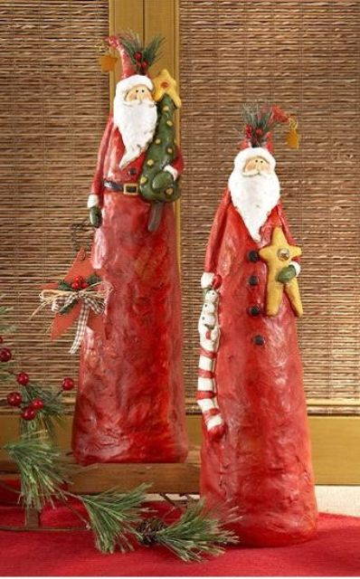 clay Santa figures for home decor