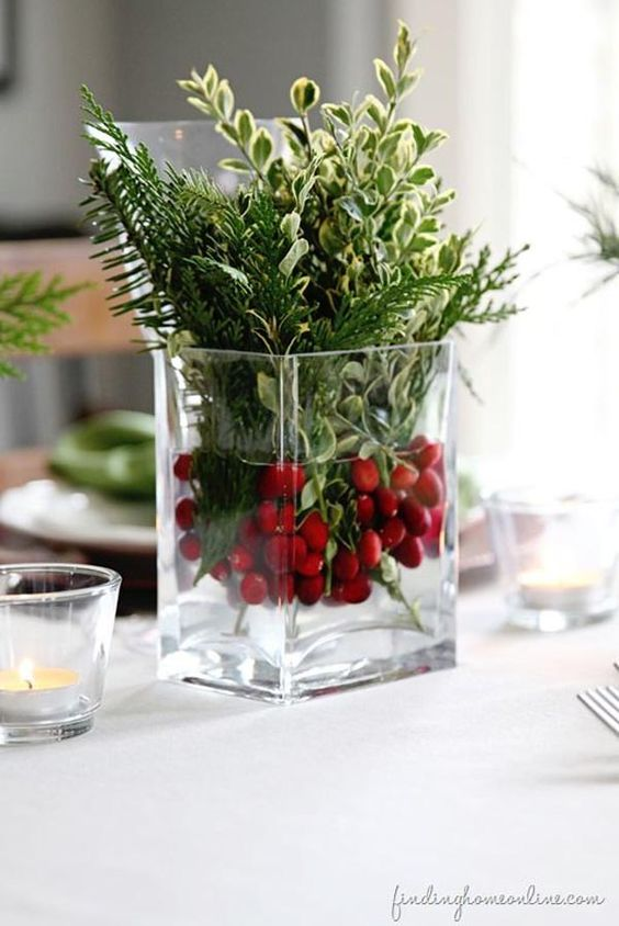 cranberries and greenery may be used for a centerpiece