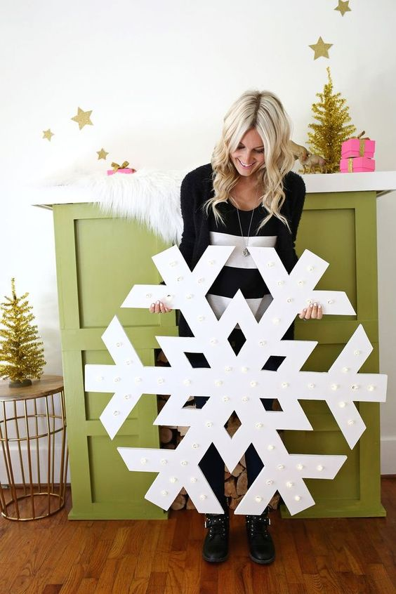 giant snowflake marquee sign will bring light to your space