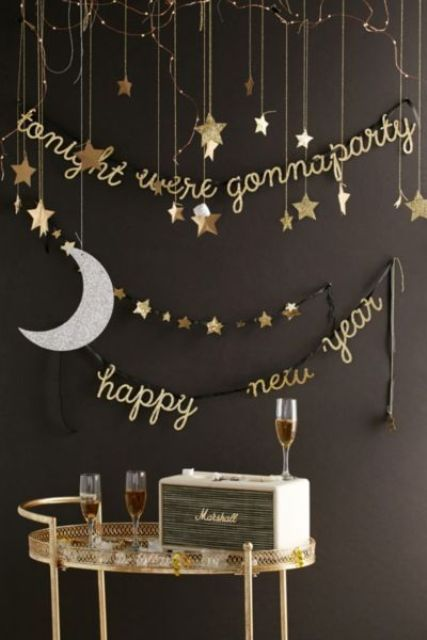 gold and star garlands for New Year decor