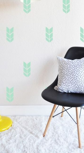 green chevron pattern accent wall