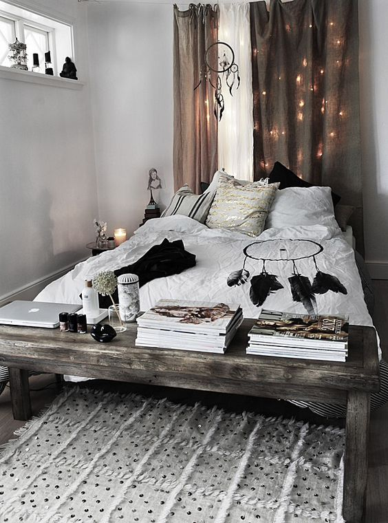 hide the string lights in the curtains to make them look more subtle