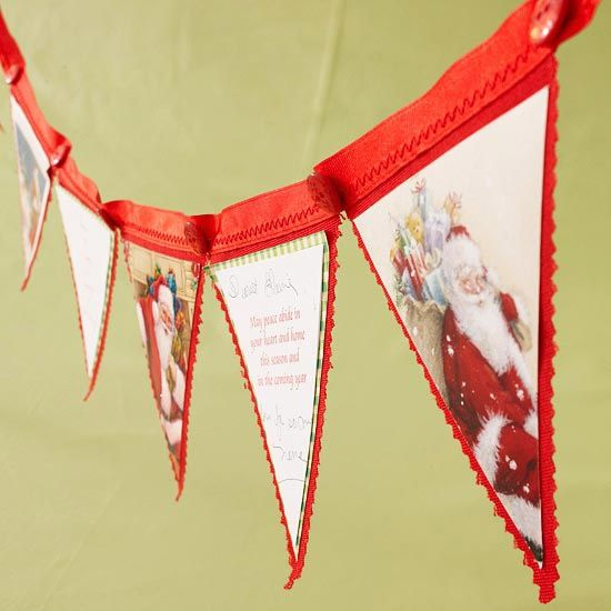 Christmas card banner with red banner