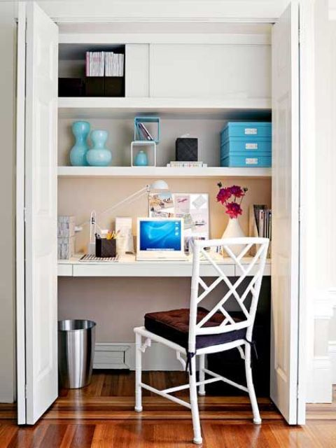 a desk hidden in a closet of your bedroom