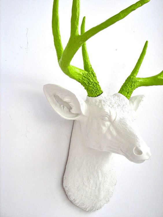 faux white deer head with lime green antlers