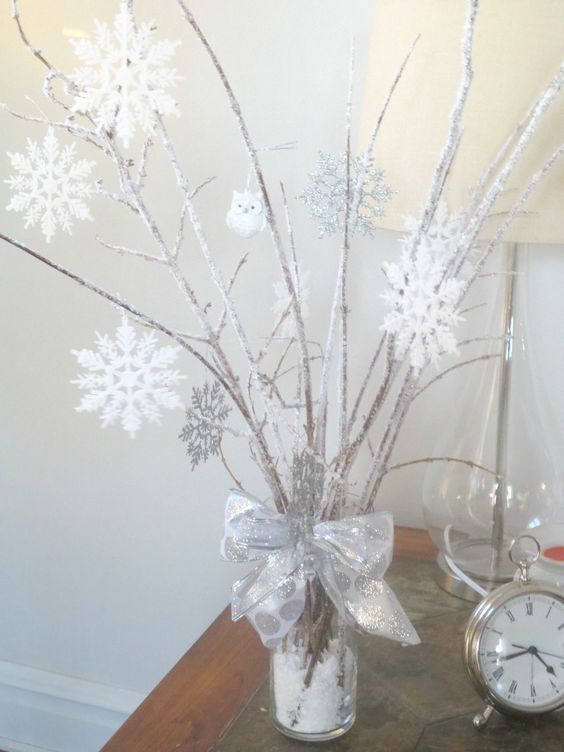 icy branches with white snowflakes decor