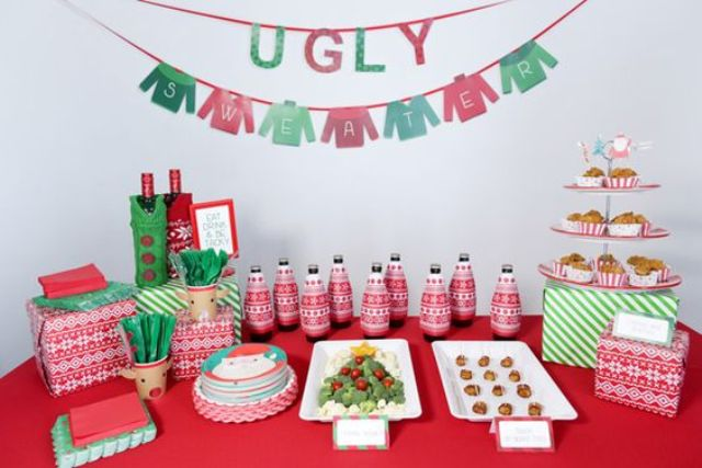 ugly sweater banners and red and green decor is right what you need