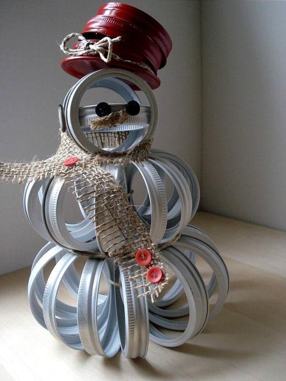 upcycled mason jar lid snowman