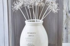 13 whitewashed ceramic floor vase with white branches