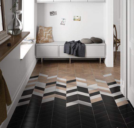 chevron tile mosaics in an entryway