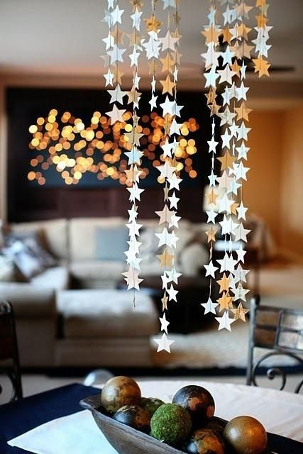 metallic star shaped paper garland banner