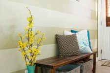 14 turquoise floor vase with yellow flowers