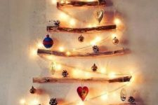 14 twig Christmas tree with lights and ornaments