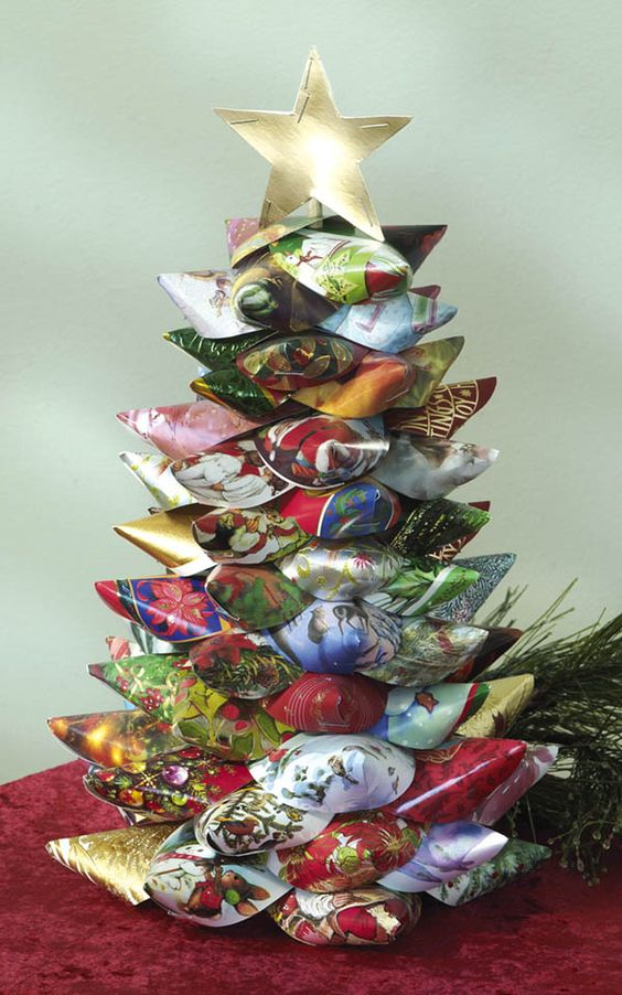 Christmas tree of cones made of Christmas cards