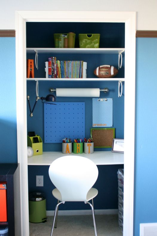 a mini office hidden in a closet