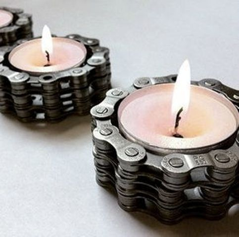 bike chain candle holders